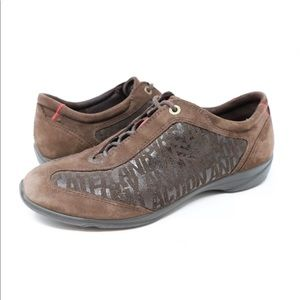 Ecco Women's Brown Suede Casual Shoes Lace Up
